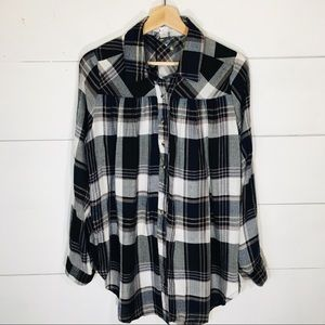 LOVE RICHE Oversized Flannel Plaid Button Shirt S